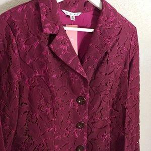 CAbi Plumberry Lace Frolic Jacket Blazer